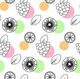 Seamless pattern with orange, kiwifruit, raspberry. Seamless pattern from simple drawing orange, kiwifruit, raspberry Stock Photography