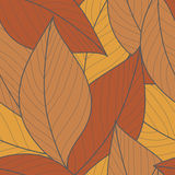 Seamless Pattern with Orange Leaves Stock Image