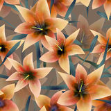Seamless pattern with orange lilies texture background Royalty Free Stock Image