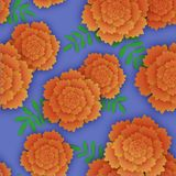 Seamless pattern with orange marigold and leaves. Vector illustration on lilac background Royalty Free Stock Images