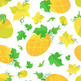 Seamless pattern orange melons and flowers in origami style. On white field Stock Photos