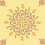 Seamless pattern with orange ornamental decor. Endless Texture. Oriental Geometric Ornament on yellow background. Seamless pattern with orange ornamental decor Stock Images