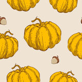 Seamless pattern with orange pumpkin Royalty Free Stock Photos
