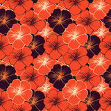 Seamless pattern with orange and purple flowers. Vector illustration Stock Image