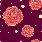 Seamless pattern with orange roses on dark red background Stock Photos