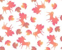 Seamless pattern with orange silhouette of unicorns and viburnum leaves isolated on white background in vector. Print for fabric. Wallpaper vector illustration