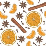 Seamless Pattern. Orange Slices, Tangerine, Spices Stock Photos