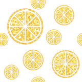 Seamless pattern with orange slices on white. Citrus  background.Vector illustration Royalty Free Stock Photography