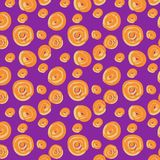 Seamless pattern from orange spheres on a lilac background. stock illustration
