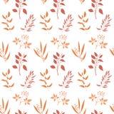 Seamless pattern with orange twigs silhouette. Royalty Free Stock Photos