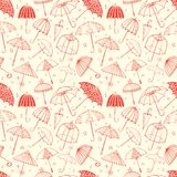 Seamless pattern with orange umbrellas. Can be used for wallpaper, pattern fills, textile, web page background, surface. Textures stock illustration