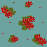 Seamless pattern with orange viburnum bunches. Royalty Free Stock Photo