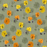 Seamless pattern of orange, yellow, beige flowers on a green background. Watercolor Royalty Free Stock Photos