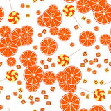Seamless pattern of oranges citrus slices and cand Stock Photos