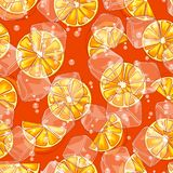 Seamless pattern with oranges. Ice cubes and soda bubbles. Fresh healthy juice. Delicious flavored cold drink. Green stylized citrus fruits whole and slices vector illustration
