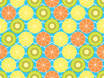 Seamless pattern with oranges, kiwi and lemon. Fruit on a background with zigzag lines. Vector Stock Image