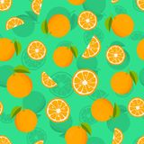 Seamless pattern with oranges and leaves. Citrus background with juicy oranges. Vector illustration.  vector illustration