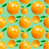 Seamless pattern with oranges and leaves. Vector texture illustration Stock Image