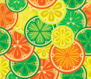 Seamless pattern of oranges, lemons and limes. Royalty Free Stock Images