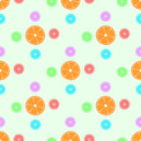Seamless pattern with oranges and patterns. Stock Image