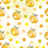 Seamless pattern with oranges and polka dots. Orange, green and yellow colors theme stock illustration