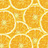 Seamless pattern with oranges, slices and green leaves. Realistic illustration. Royalty Free Stock Image