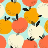 Seamless pattern with oranges. Vector illustration Stock Images