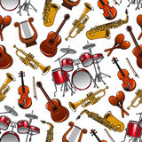 Seamless pattern of orchestra musical instruments Royalty Free Stock Image