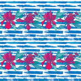Seamless pattern with orchid flowers on the striped grunge blue royalty free illustration