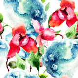 Seamless pattern with Orchid and Hydrangea blue flowers. Watercolor illustration Stock Photo