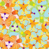Seamless pattern with Orchidea Dendrobium continuous blue, orang. E vector illustration Royalty Free Stock Photos