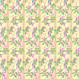 Seamless pattern with orchids flowers and leaves Royalty Free Stock Images