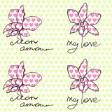 Seamless pattern with orchids and inscriptions about love in English and French. vector illustration
