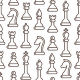 Seamless pattern with ordered chessmen in linear style vector illustration