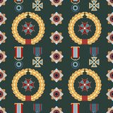 Seamless pattern with orders and medals. Can be used for graphic design, textile design or web design Stock Photography