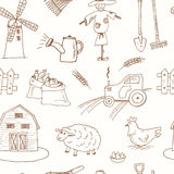 Seamless pattern with Organic farm hand drawn decorative icons set Royalty Free Stock Images