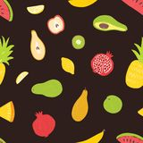 Seamless pattern with organic ripe juicy tropical exotic fruits on black background. Summer backdrop with natural stock illustration