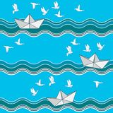Seamless pattern with origami paper boats Stock Photos