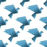 Seamless pattern of origami pigeons and doves Royalty Free Stock Photography
