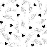 Seamless Pattern with Origami Plane and Heart Royalty Free Stock Images