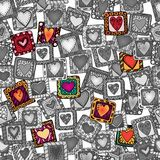 Seamless pattern of original doodle hearts. Royalty Free Stock Photography