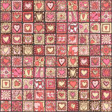 Seamless pattern of original doodle hearts. Stock Photo