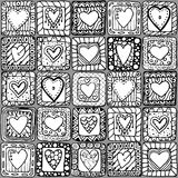 Seamless pattern of original doodle hearts. Royalty Free Stock Image
