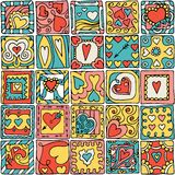 Seamless pattern of original doodle hearts. Stock Photos