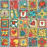 Seamless pattern of original doodle hearts. Stock Photos