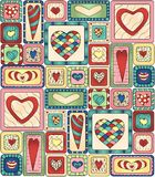 Seamless pattern original drawing doodle hearts. Royalty Free Stock Image