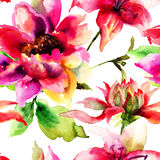 Seamless pattern with original flowers. Watercolor painting Stock Images