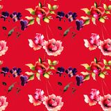 Seamless pattern with Original flowers on red background Royalty Free Stock Photo