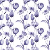 Seamless pattern with Original flowers. Watercolor illustration Stock Photos