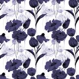 Seamless pattern with Original flowers. Watercolor illustration Royalty Free Stock Image